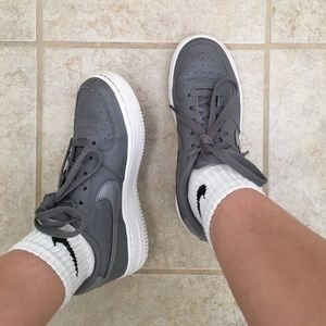 Gray Nike Air Force Ones